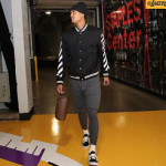 NBA Style: Jordan Clarkson Spotted In An OFF-WHITE Logo-Print Varsity Jacket