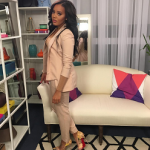 Angela Simmons Styles In A Zazaii Suit & Christian Louboutin So Kate Marbled Pumps