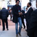 NBA Style: Ed Davis Wears A G-Star Raw Pea Coat, Saint Laurent Slim-Fit Ripped Denim Jeans & Saint Laurent Camo-Print Fringe Detail High Top Sneakers