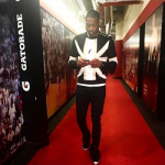 Dwyane Wade Wears A Balmain British Flag Linen Sweater & Giuseppe Zanotti Men's Two-Strap Velvet Sneakers