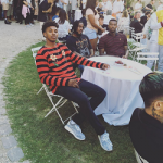 Celeb Style: Nick Young & Wale Spotted In A Gucci Striped Tee-Shirt With Flower Appliqués