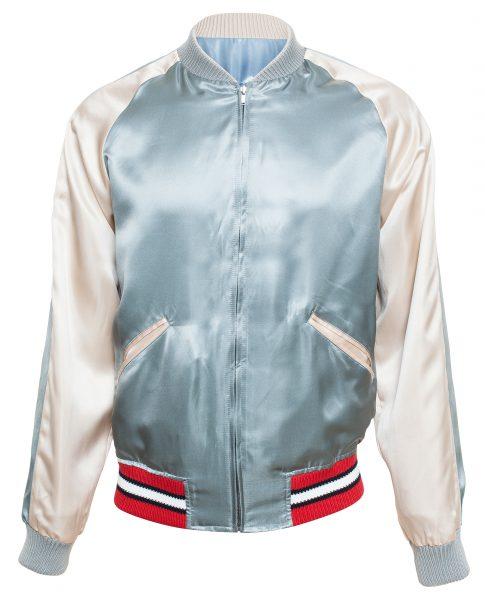 Gucci Men's Blue Reversible Satin Bomber Jacket1
