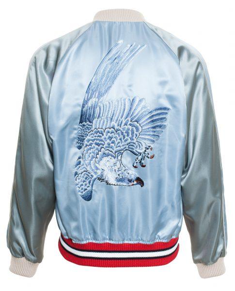 Gucci Men's Blue Reversible Satin Bomber Jacket3