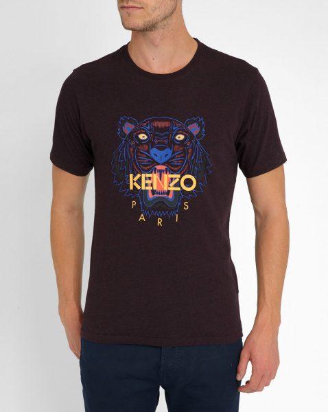KENZO Men's Purple Burgundy Tiger Logo Round-neck T-shirt1