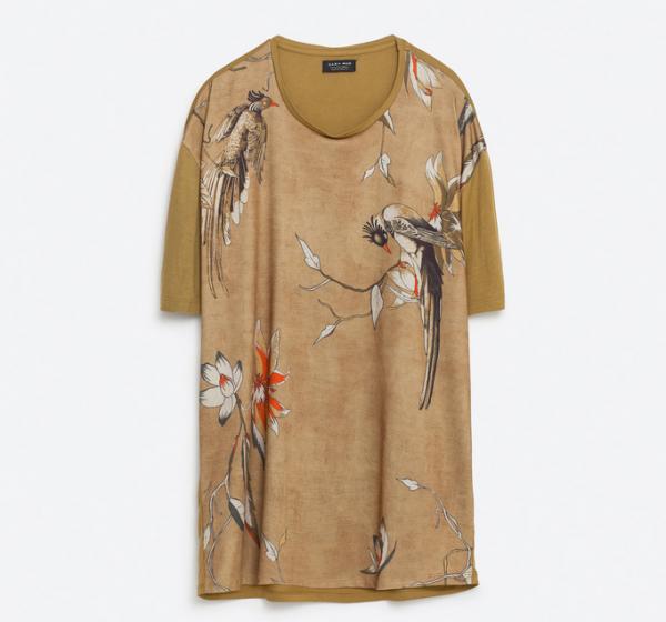 Zara Men's Floral Parrot And Flower Print T-shirt1
