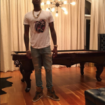Meek Mills Wears A Givenchy Colombian-Fit Monkey Brothers Tee-Shirt & Saint Laurent SL/10H Sneakers