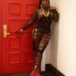 Remy Ma Shows Off Killa Body In A Dsquared2 Tribal Printed Sheer Stretch Jumpsuit