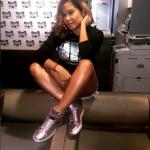 Angela Yee Rocks A Pair Of Jon Buscemi Women's 100MM Metal Python Rose Gold Sneakers