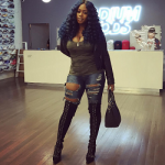 Fall Footwear: Remy Ma's Emilio Pucci Suede And Ostrich Thigh High Lace Up Boots