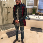 NBA Style: Allen Crabbe In An OFF-WHITE Checked Concealed Fastening Shirt, Mike Amiri Jeans & Saint Laurent Eddie Suede Chelesa Boots