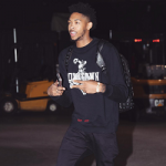 NBA Style: Brandon Ingram Dressed In An Off-White C/O Virgil Abloh Men's Downtown Cotton Sweatshirt; Carried A MCM Logo Print Backpack