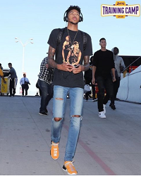 eecd087827abf NBA Style  Brandon Ingram Wears A Tupac Tee-Shirt   Pharrell Williams x  adidas NMD Human Race Sneakers