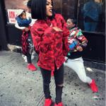 Style Trendsetter: Teyana Taylor Wears An A Bathing Ape Color Camo Jacket & Reebok Question Mid Teyana T Sneakers