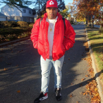 Fall Outerwear: DJ Boof Sports A Vetements Men's Tech-Twill Oversized Red Bomber Jacket