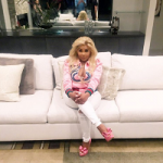 Lil Kim Styles In A Gucci Embroidered Silk Bomber & Valentino Peep-Toe Pumps With Bow Accents