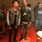 NBA Player Cameron Payne Wears An OFF-WHITE C/O Virgil Abloh Men's Distressed Leather Moto Jacket