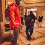 Andre Drummond Sports An Off-White C/O Virgil Abloh Pullover Hoodie W/Arrows And Timberland 6″ Classic Boots