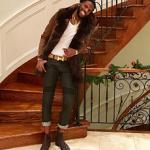 NBA Style: DeMarre Carroll Wears A HiSO 'Balfern' Shearling Coat, Balmain Biker Jeans, Hermès Men's Leather Belts & Christian Louboutin Melon Spike Embellished Suede Chelsea Boots