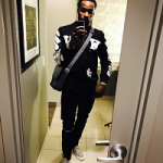NBA Player Shabazz Muhammad Styles In An Off-White Spray Paint Bomber Jacket