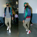 NBA Style: LeBron James Styles In A Gucci Appliquéd Silk-Satin Bomber Jacket & Off-White Black & White Striped Tee-Shirt