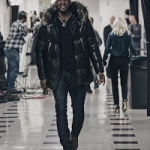 Jimmy Butler Arrives In A NBA Arena Wearing A Bally Fur-Trimmed Leather Puffer Jacket