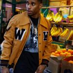 NFL Style: Victor Cruz Wears An Off-White C/O Virgil Abloh Men's Appliquéd Wool Blend Varsity Jacket