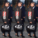 Lala Anthony Wears A Fausto Puglisi 'Multiple Patches' Menswear Spring 2017 Jacket & Alexandre Vauthier Boots