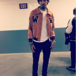 NBA Style: Willie Cauley Stein Posed In An Off-White C/O Virgil Abloh Men's Appliquéd Wool Blend Varsity Jacket