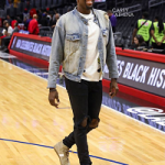 Draymond Green Wears An Off White Diagonal Spray Long Sleeve Tee-Shirt