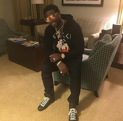 f785299c4cd Gucci Mane Wears A Gucci Sweatshirt With Donald Duck Appliqué   Jersey  Bomber Jacket With Panther