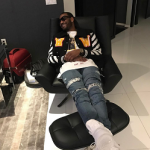 NBA Style: John Wall Wears An Off-White Varsity Bomber Jacket With Patches & 'Painting' Print Tee-Shirt