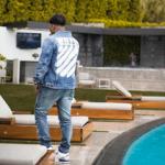 Denim-On-Denim Look: Justin Combs & Terry Rozier Wear An Off-White Blue Denim Sprayed Diagonals Jacket