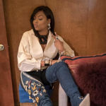 Taraji P. Henson Wears A Pair Of $4,000 Rihanna x Manolo Blahnik  9 to 5 Chap Denim Boots