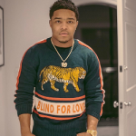Justin Combs Poses In A Gucci 'Blind For Love' Tiger Sweater