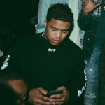 Justin Combs Wears An Off-White C/O Virgil Abloh Spray-Effect Cotton Tee-Shirt