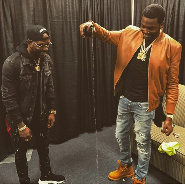 29e3abe7c05 Meek Mill Outfitted In Valente, Saint Laurent & Timberland ...