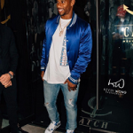 NFL Player Victor Cruz Spotted In A Mike Amiri Silk Baseball Jacket