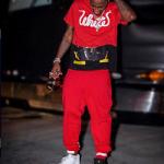 Fabolous Wears An Off-White C/O Virgil Abloh Red 'White' Patchwork Tee-Shirt & Stripe Print Jogging Pants