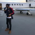 Meek Mill Spotted Boarding A Private Jet In A Gucci Multicolor Velvet Bomber Jacket