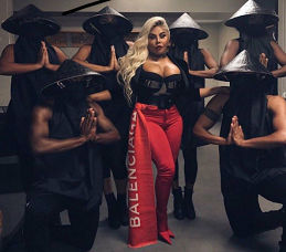 3376de3f Lil Kim Outfitted In Balenciaga Stretch Satin Skinny Pants & Boots Combo  Set And Intarsia Cashmere Scarf
