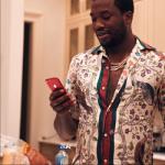 Meek Mill Wears A Gucci Printed Silk Twill Bowling Shirt