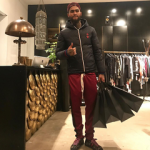 Dave East Rocked A Gucci GG Jacquard Quilted Nylon Jacket & New Ace Floral Jacquard Low Top Sneakers
