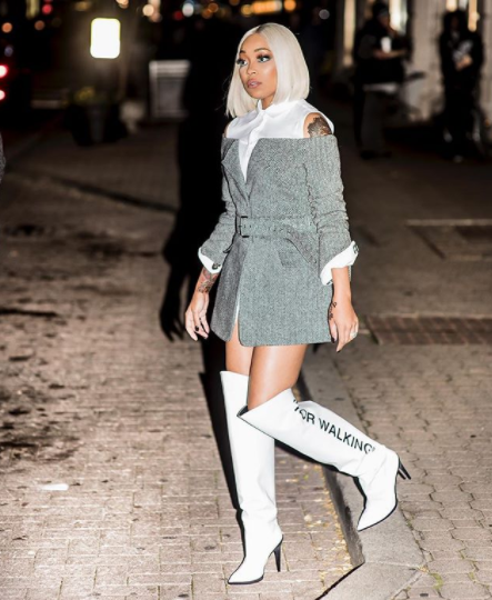 f6a402191e77 Monica Brown Outfitted In A Monse Herringbone Jacket With Belt   Off-White  – For Walking Printed Leather Over-The-Knee Boots