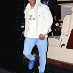 "NFL Fashion: Victor Cruz Wears A Gucci Men's ""Thanatos"" Tiger-Embroidered Denim Jacket & Logo Print Sweatshirt"
