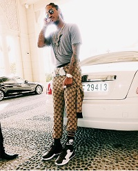 f4b4cb01f1c Future Wears A Gucci Brown Wool GG Supreme Jumpsuit From The House s Fall  2017 Menswear Collection