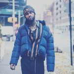 Dave East Kept Warm In A Balenciaga Men's C Curve Trapeze Puffer Jacket & Moncler Green Down Dejan Jacket