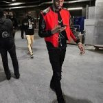 """NBA Fashion: Andrew Wiggins Outfitted In A Saint Laurent Heaven Varsity Jacket, Amiri Mx1 Skinny-Fit Leather-Panelled Distressed Stretch-Denim Jeans & adidas Yeezy Boost 750 """"Triple Black"""""""