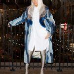 Monica Brown Styles In A Dries Van Noten F/W 17/18 Coat & Balenciaga Knife Over-The-Knee Booties