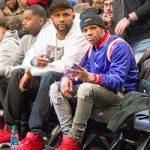 A-Boogie Wit Da Hoodie Wears A Mike Amiri Varsity Baseball Jacket & Cashmere Patch Light Grey Jeans