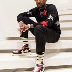"Fabolous Wears A Givenchy Black Intarsia Stars Sweater, Black Stripes And Star Socks & Ricardo Tisci x Nike Air Force 1 High ""Victorious Minotaur"""